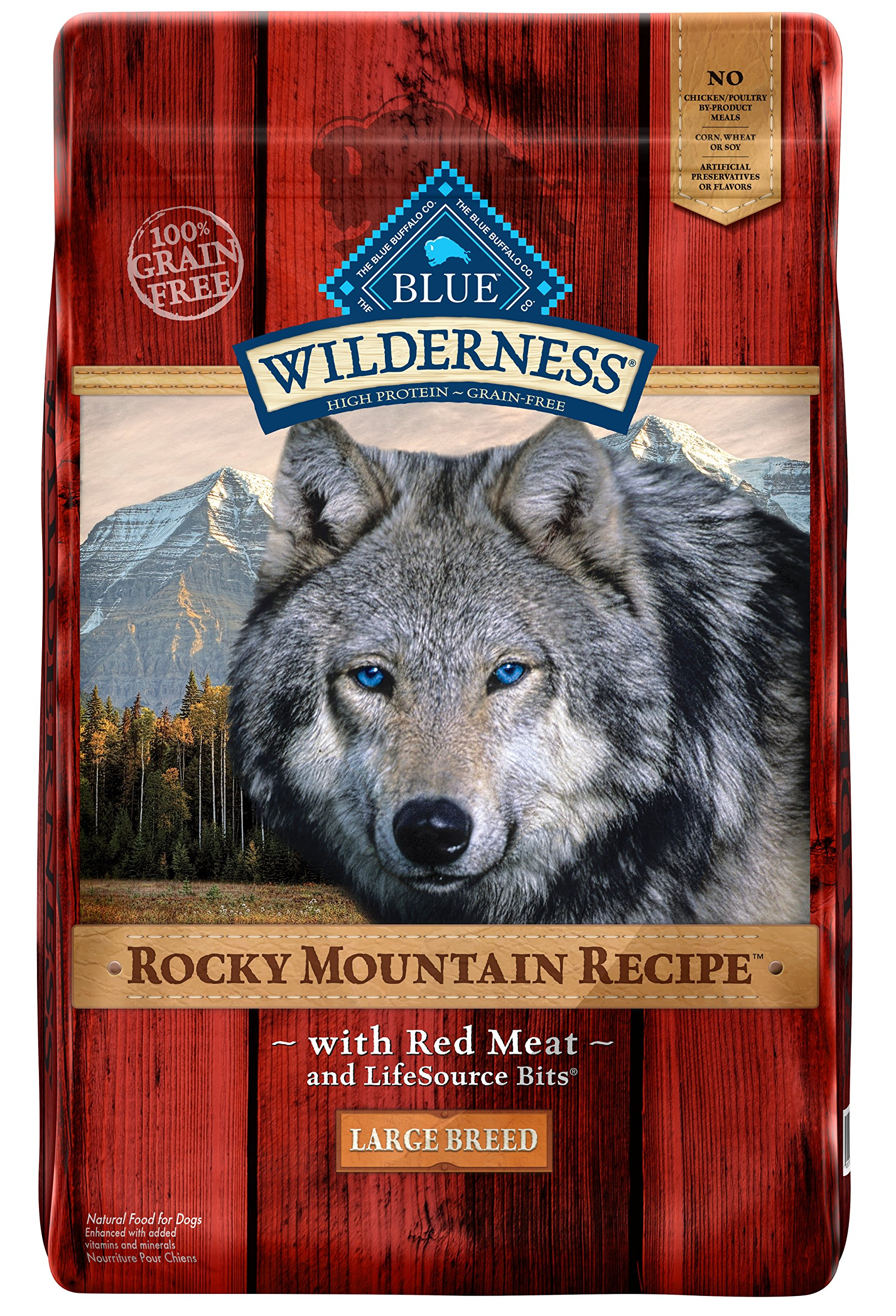 BLUE Wilderness Rocky Mountain Recipe Adult Large Breed Grain Free Red Meat Dry Dog Food 22-lb