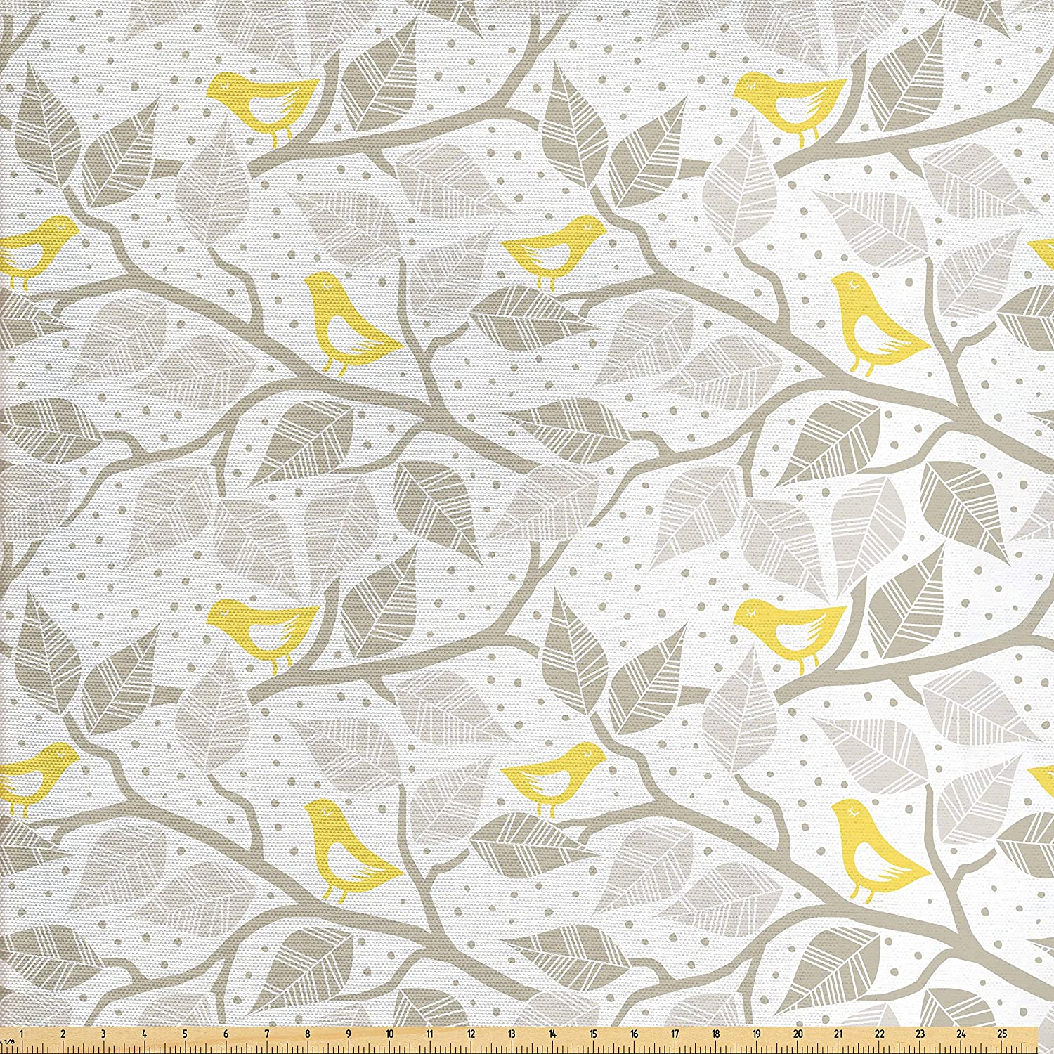 Amazon Com Ambesonne Grey Fabric By The Yard Birds On The Branch With Pastel Leaves On Dotted Background Nature Art Decorative Fabric For Upholstery And Home Accents Yellow Dust Pale Grey