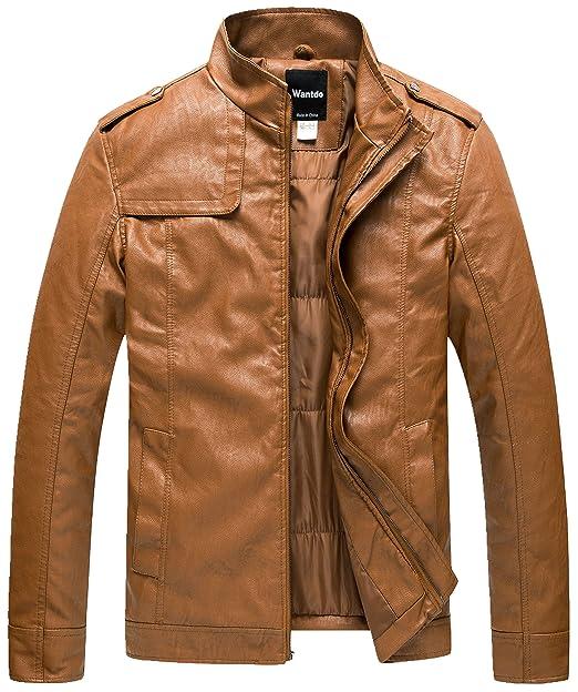 designer fashion 337ad 3b899 Wantdo Giacca in Pelle Imbottita Colletto Moto Uomo: Amazon ...