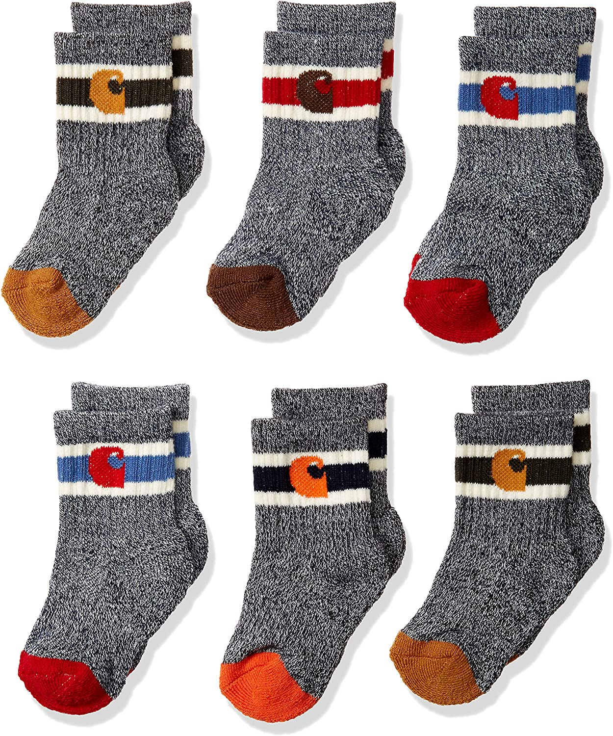 Carhartt Baby Boys Camp Crew Sock-6 Pair Pack, natural, tan, orange, red, brown, Shoes Size: 1.5-4 (6-18 Months): Clothing