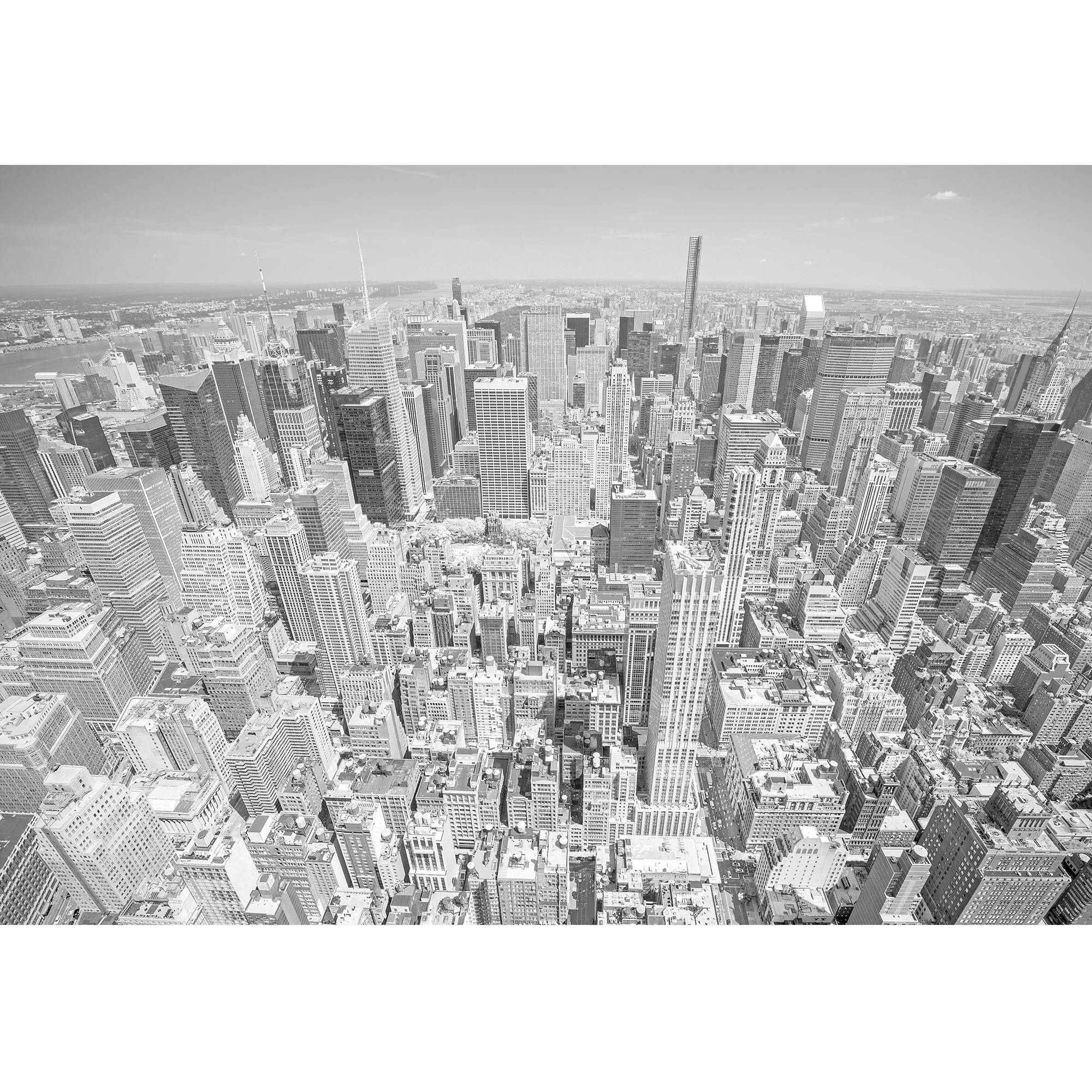 wall26 - Black and White Toned Aerial View of Manhattan, New York City, Usa. - Removable Wall Mural | Self-adhesive Large Wallpaper - 100x144 inches by wall26 (Image #2)