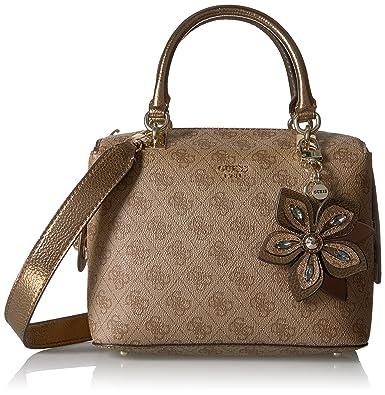 GUESS Women s Brown Satchel Bag  Amazon.in  Shoes   Handbags 145b7a31950