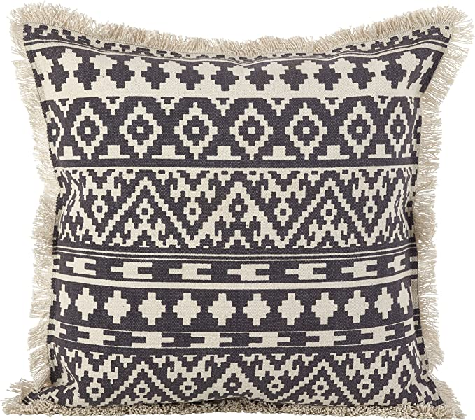 Saro Lifestyle 2152 Gy20s Aztec Tribal Design Fringe Trim Cotton Down Filled Throw Pillow 20 X 20 Grey Home Kitchen