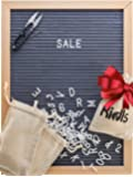 Premium Felt Letter Board - 12x16 Wood Frame with 725 Changeable Letters, Numbers, and Symbols – Message Board Sign – Home, Office, and Wall Décor and Educational Toy + FREE Scissors by KidIs (Gray)