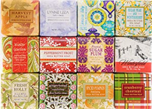 Winter Holiday Soap Sampler Set of 12 1.9 ounce Natural Extract Soap Bars Gift Boxed by Lynne Leea