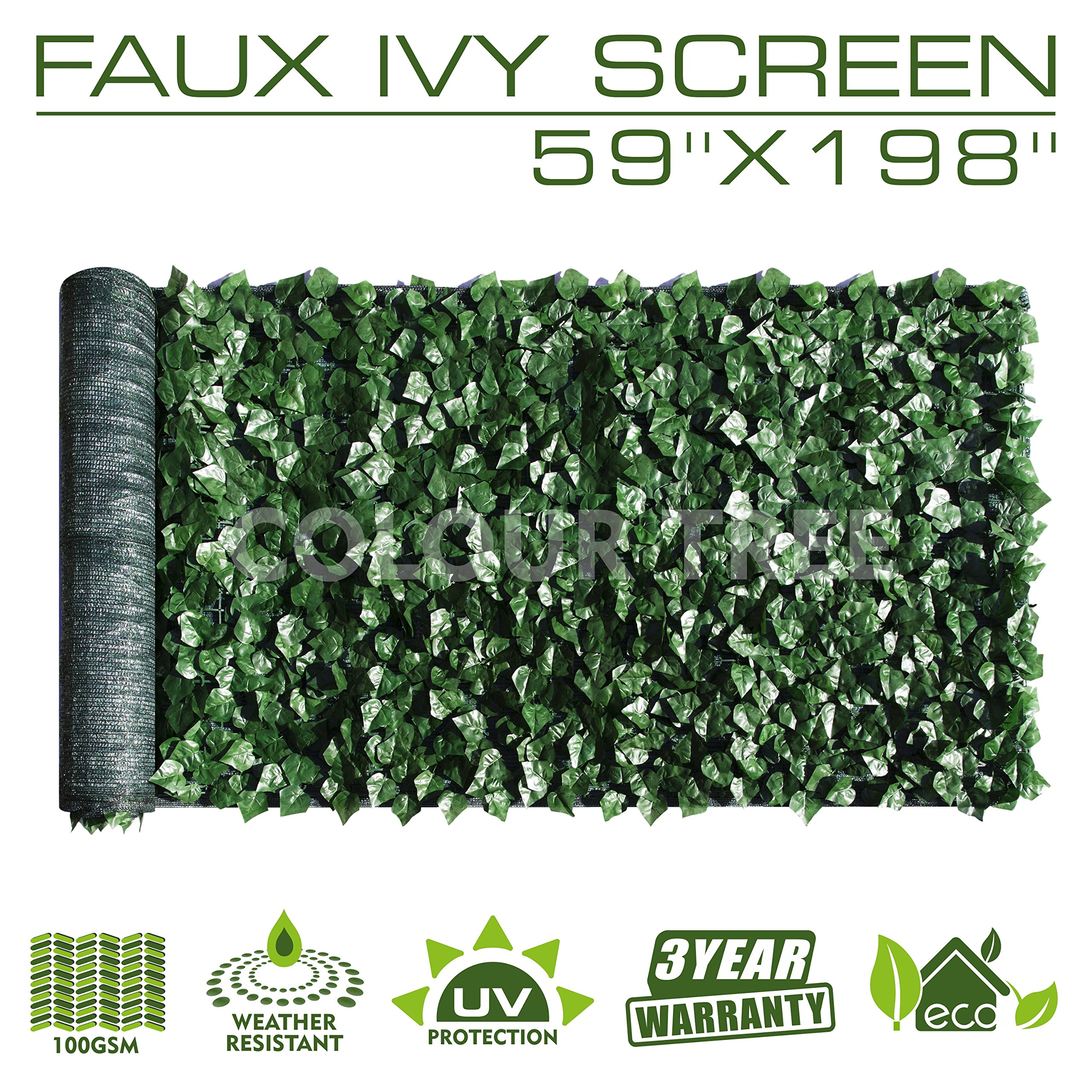 ColourTree Artificial Hedges Faux Ivy Leaves Fence Privacy Screen Panels Decorative Trellis - Mesh Backing - 3 Years Full Warranty (59'' x 198'')