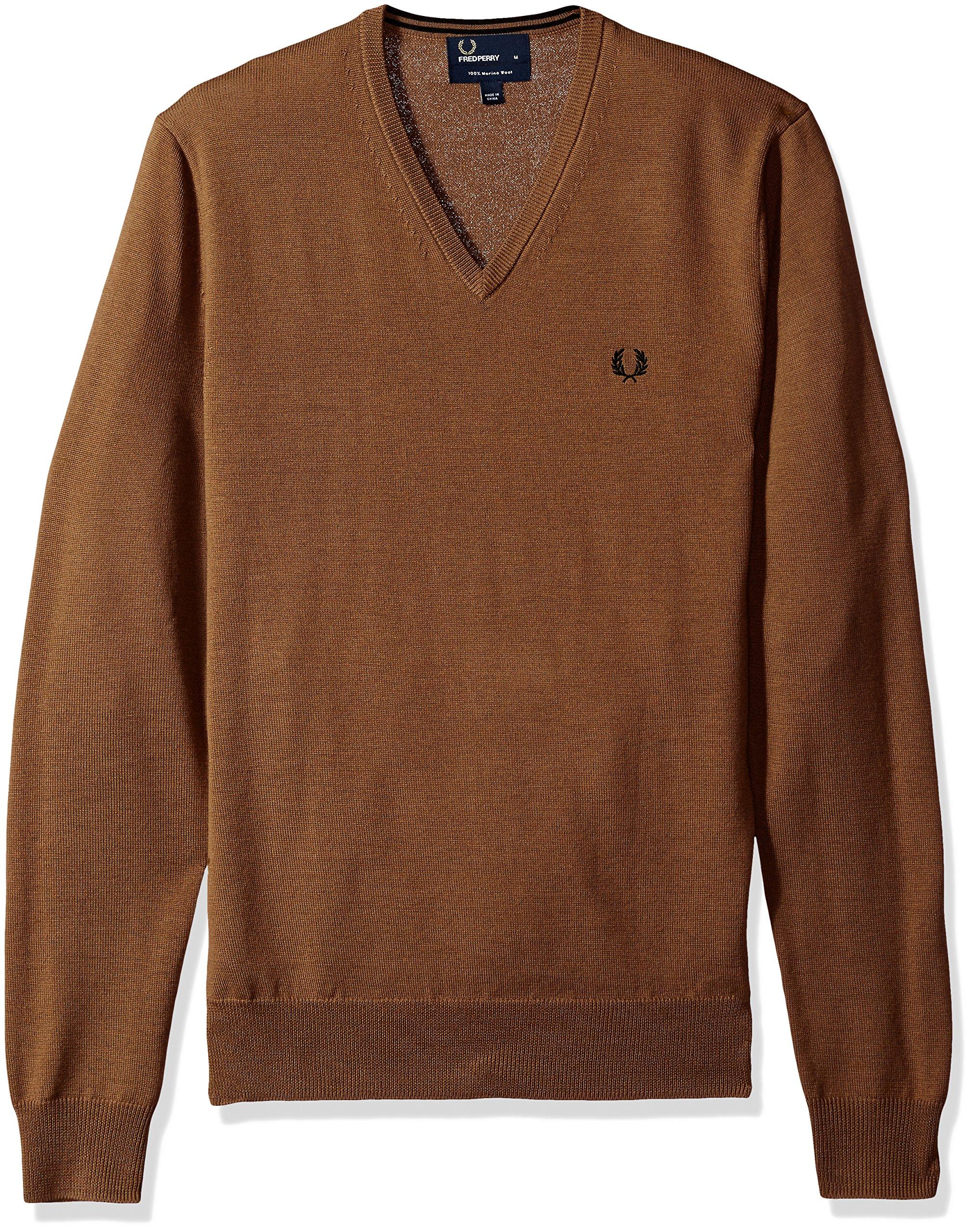 Fred Perry Men's Classic V-Neck Sweater,Dark Caramel,Medium