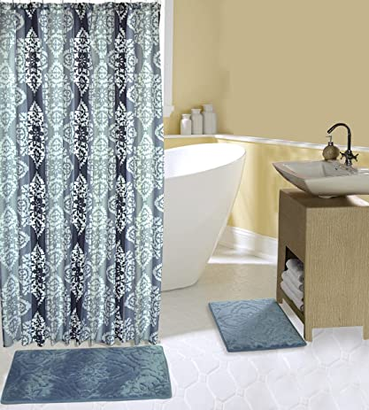 Complete 15 Piece Bath Set With 2 Memory Foam Bath Mats, Shower Curtain And  Hooks
