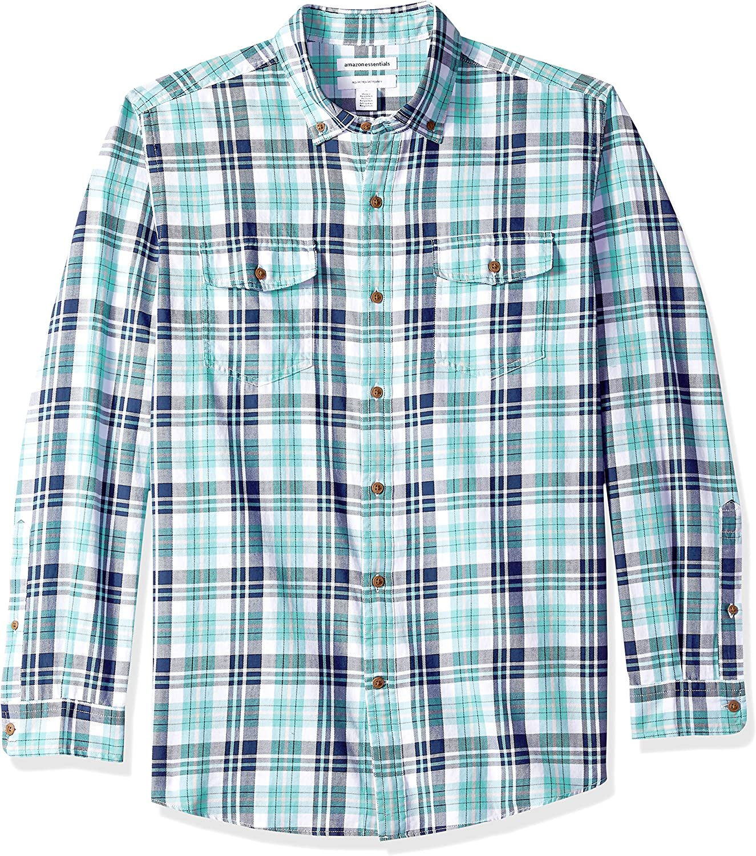 Amazon Essentials Camisa de franela a cuadros, manga larga