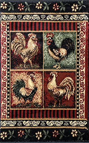 Lodge Rooster Style Doorway Mat Area Rug L-379 2 feet X 3 feet 2 inch