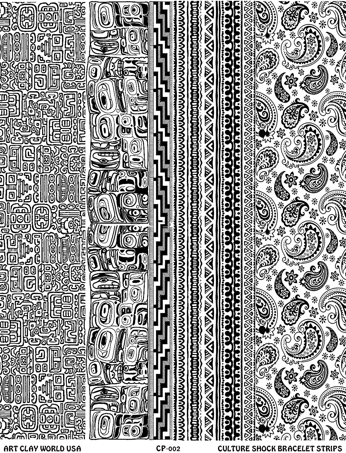 Culture Shock Full Length Texture Sheet, 10in x 2in each of Mayan Ruins, Northwest Native, Woven Cloth, and Paisley. Art Clay World USA 4336838910