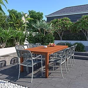 Amazonia Monaco 9-Piece Outdoor Rectangular Dining Table Set | Eucalyptus Wood | Ideal for Patio and Indoors, Dark Teak Finish