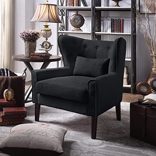 Rosevera Liviana Tufted Wingback Club Chair with Back Cushion, Charcoal