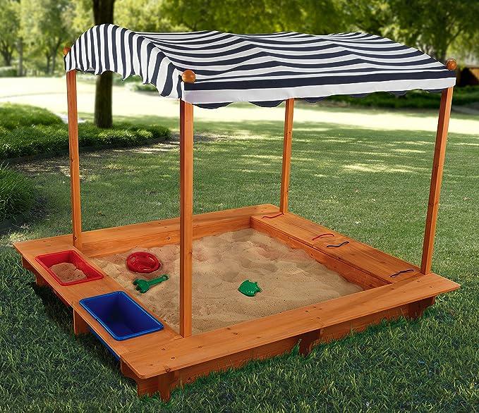 KidKraft 165 Arenero de madera para niños con toldo, para jardín y exterior al aire libre - Azul marino y blanco: Amazon.es: Juguetes y juegos
