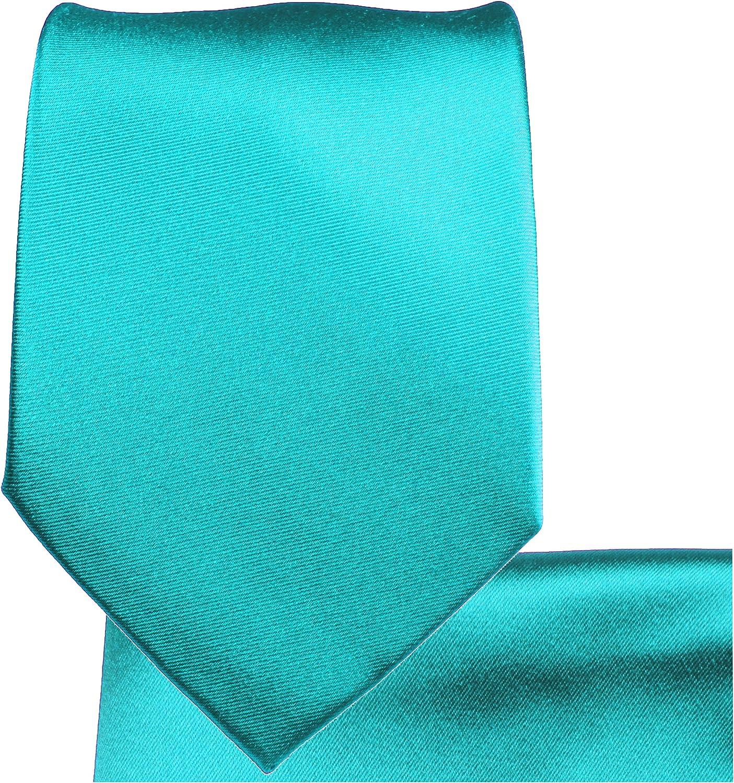 P.M. Krawatten Paul Malone Corbata de seda turquesa + pañuelo ...