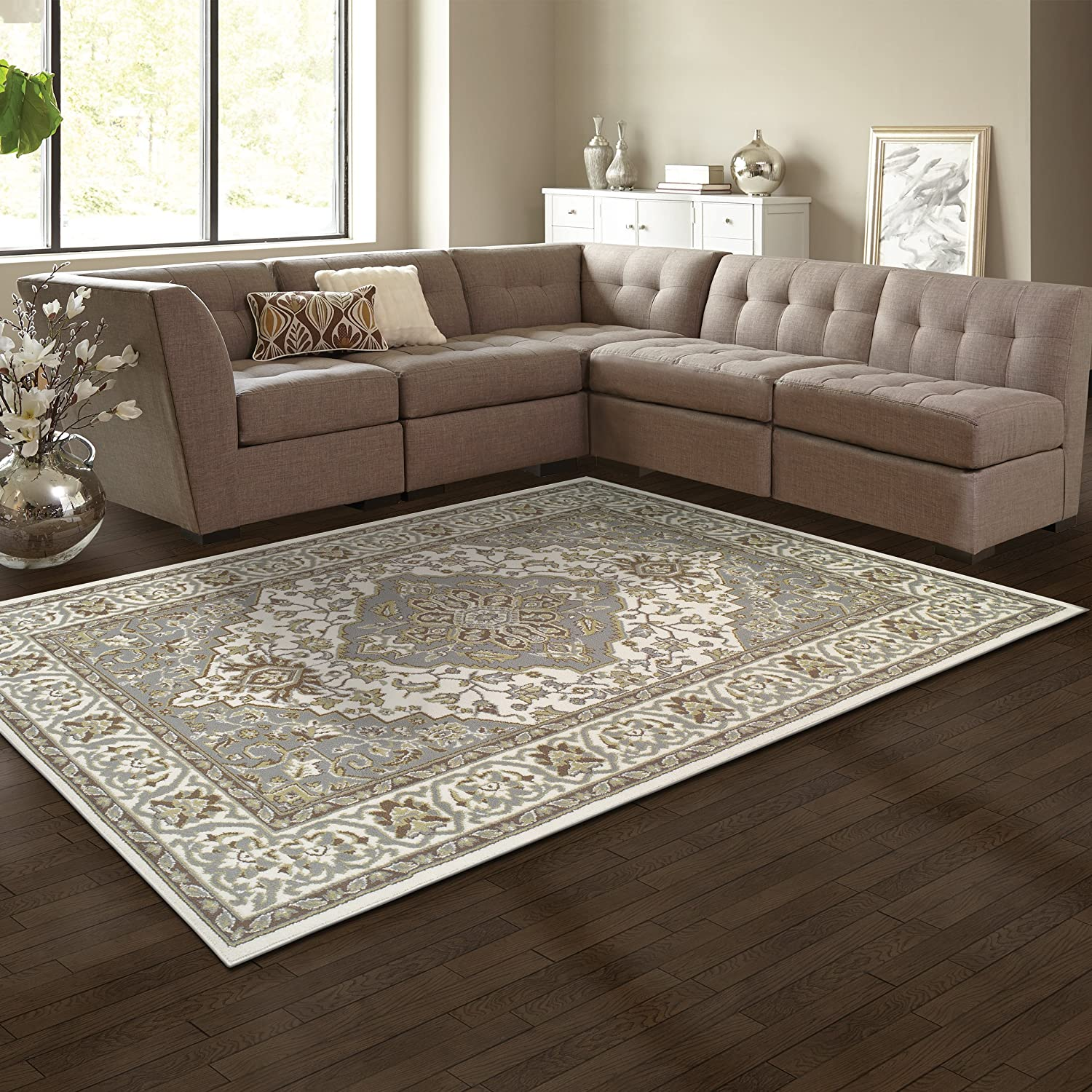 Superior Elegant Glendale Collection Area Rug, 8mm Pile Height with Jute Backing, Traditional Oriental Rug Design, Anti-Static, Water-Repellent Rugs - Brown, 2' x 3' Rug 2' x 3' Rug 2X3RUG-GLENDALE-BR