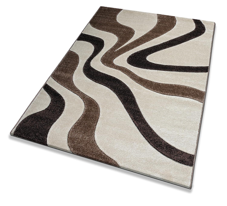 Keymura Wohnzimmerteppich im Modernem Design Prada Prada Prada Teppich mit Hoch-Tief Muster Florhöhe 15 mm Farbe  Natur Braun   Beige Größe  160x230 cm B075QDT5MD Teppiche 93cf40