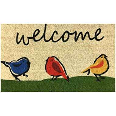 Welcome Doormat by Castle Mats, Size 18 x 30 inches, Non-Slip, Durable, Made Using Odor-Free Natural Fibers