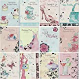 Selective Pack of 12 Assorted Delicate Lady Art Design Birthday Cards, Metallic Finish