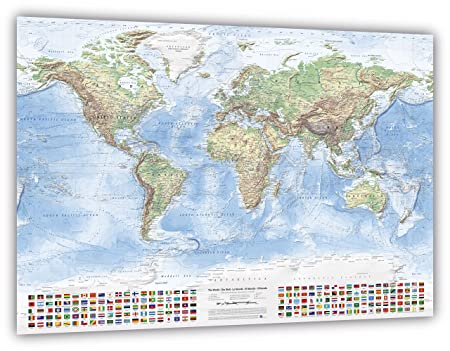 Map Of Uk 2100.J Bauer Karten Physical World Map With Flags Size 120x80 Cm
