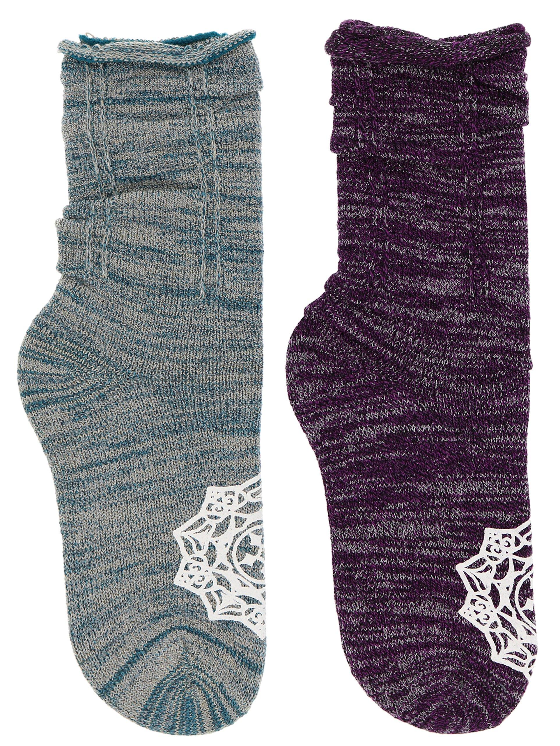 K. Bell Women's Roll Top Mandala Slouch Crew Socks (2 Pr), Purple & Teal