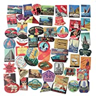 STICON Classic Vintage Style Vinyl Waterproof Stickers for Luggage, Car, Laptop, Skateboard, Bicycle Decal Graffiti Patches (56 Pieces)