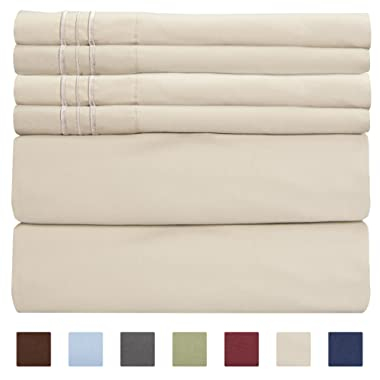 California King Size Sheet Set - 6 Piece Set - Hotel Luxury Bed Sheets - Extra Soft - Deep Pockets - Easy Fit - Breathable & Cooling - Wrinkle Free - Comfy - Tan Beige Bed Sheets - Cali Kings Sheets