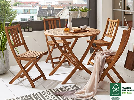 SAM® Salon de jardin Jasper, 5 pièces, en bois d\'acacia, 1 x table ...