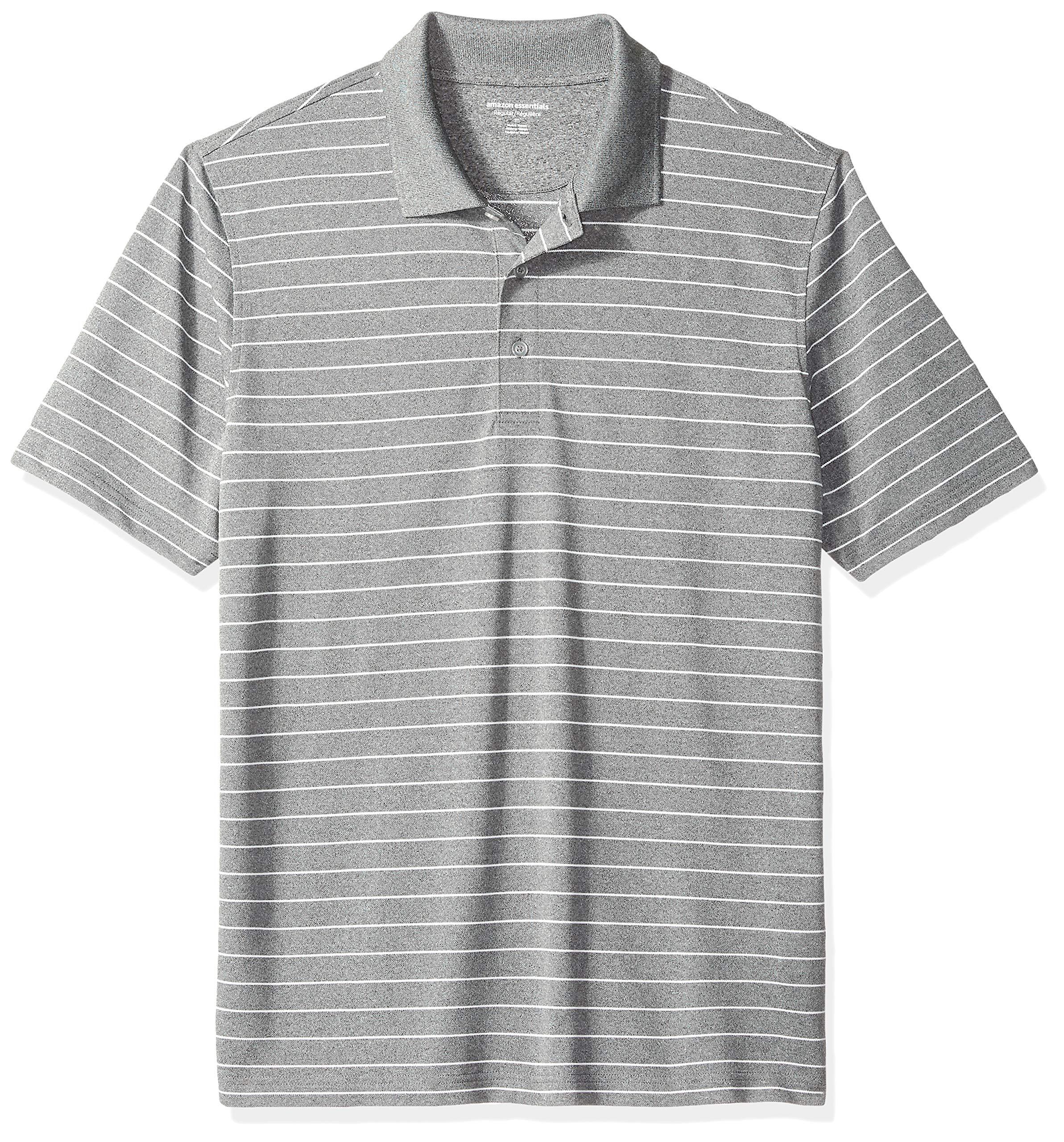 Amazon Essentials Men's Regular-Fit Quick-Dry Golf Polo Shirt, Medium Grey Heather Stripe, X-Small