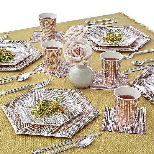Hexagonal madera Collection vajilla | 432 pcs platos de papel desechables Heavyweight | 216 pcs platos llanos y 216 pcs placas laterales | para Fine y de ...