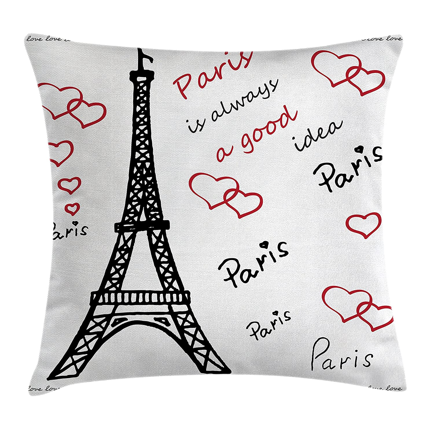 Amazoncom Ambesonne Eiffel Tower Decor Throw Pillow Cushion Cover