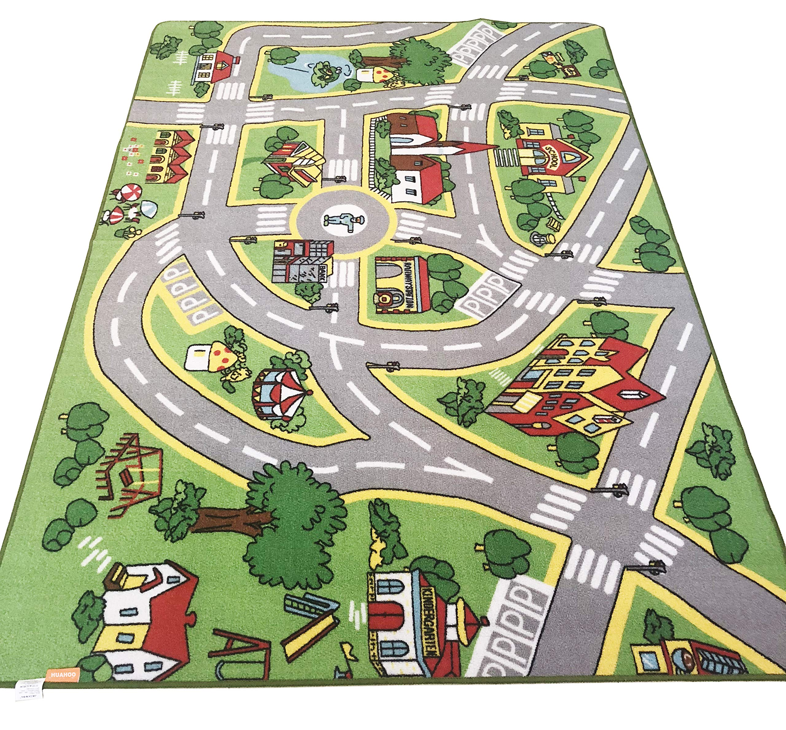 HUAHOO Kids' Rug with Roads Kids Rug Play mat City Street Map Children Learning Carpet Play Carpet Kids Rugs Boy Girl Nursery Bedroom Playroom Classrooms Play Mat Children's Area Rug (52'' x 75'')