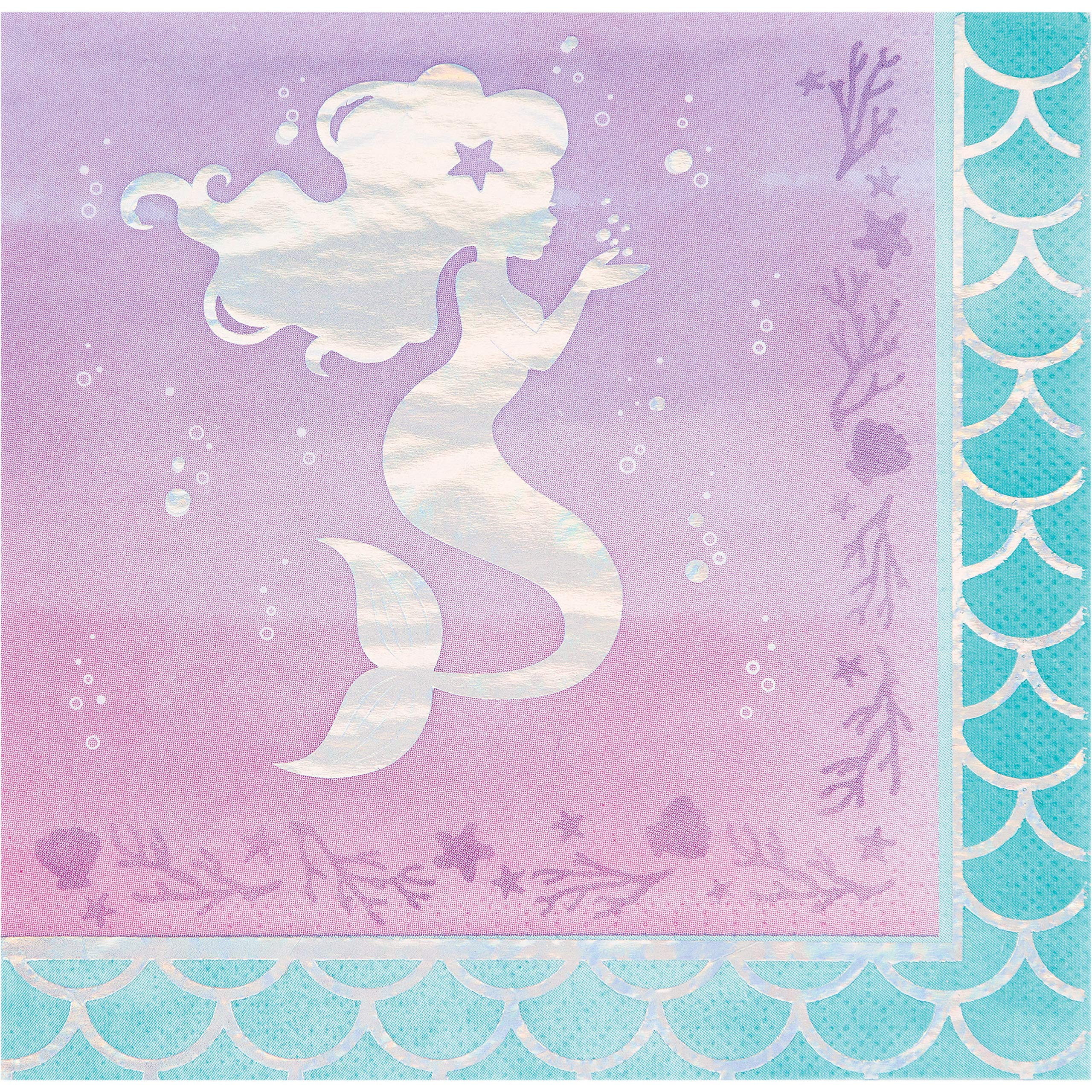 Iridescent Mermaid Party Napkins, 48 ct by Creative Converting