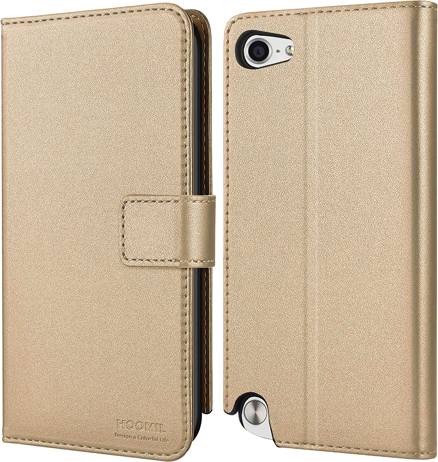 HOOMIL Wallet Case for Apple iPod Touch 7/6/5, [Classic Business Series] Flip Leather Cover - Gold