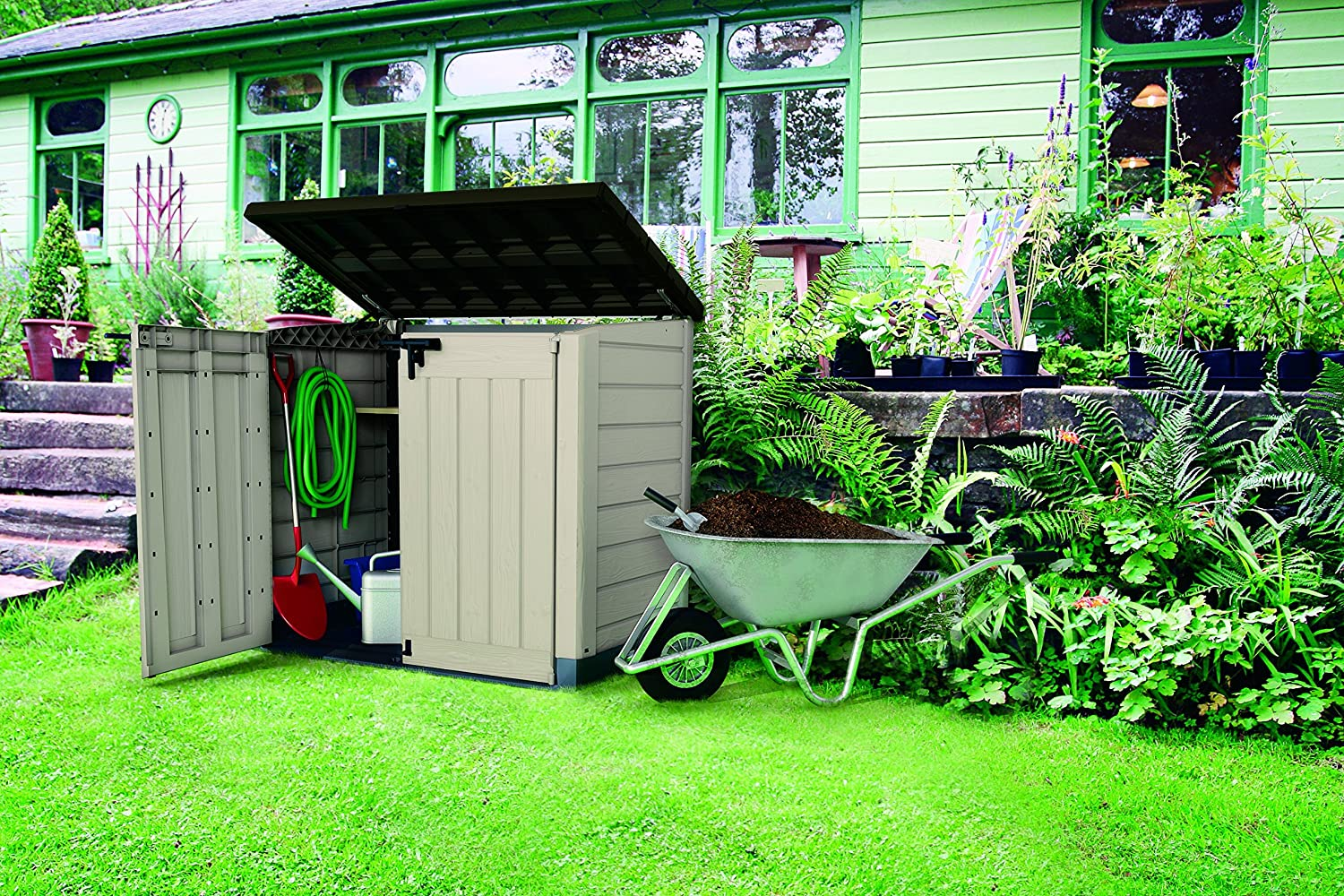 keter store it out max plastic outdoor garden storage shed beige and brown ebay. Black Bedroom Furniture Sets. Home Design Ideas