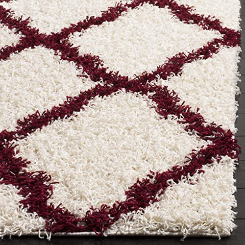 Safavieh Dallas Shag Collection SGD257R Ivory and Red Area Rug 4 x 6