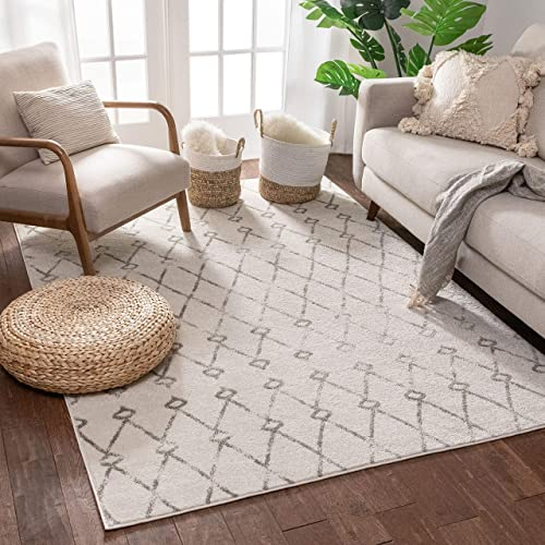 Viaje Trellis Ivory Distressed Traditional Vintage Moroccan Diamond Lattice Area Rug 8×11 7'10″ x 9'10″ Carpet
