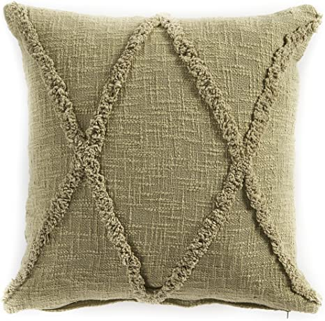 Amazon Com L R Resources Pillo07322olgffpl Carlton Diamonds Indoor Throw Pillow 20 X 20 Olive Green Home Kitchen