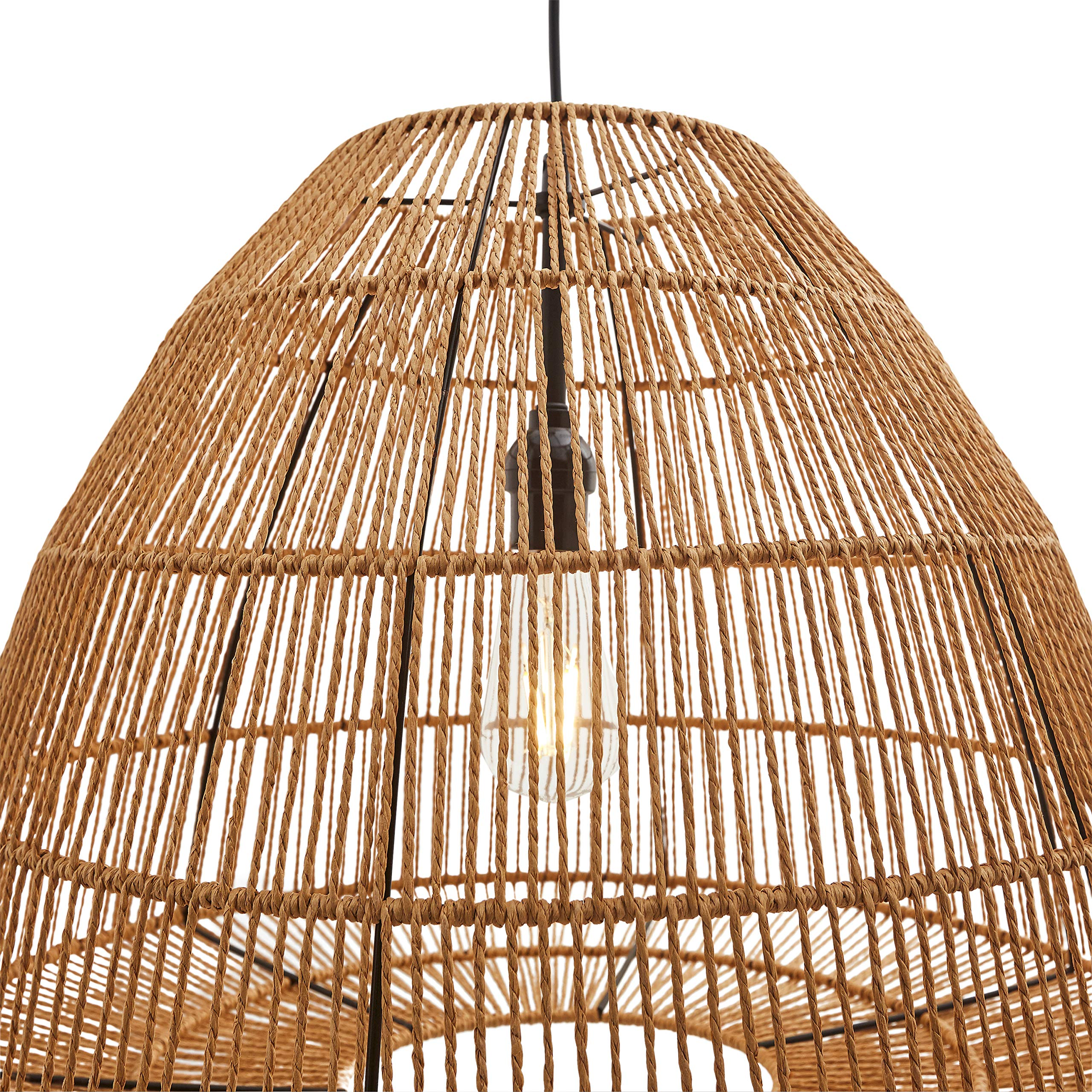 Stone & Beam Rustic Global Round Woven Pendant with Bulb, 44.5''H, Natural Rattan by Stone & Beam (Image #5)