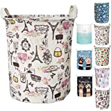 Merdes 19.7'' Waterproof Foldable Laundry Hamper, Dirty Clothes Laundry Basket, Linen Bin Storage Organizer for Toy Collection (Paris)