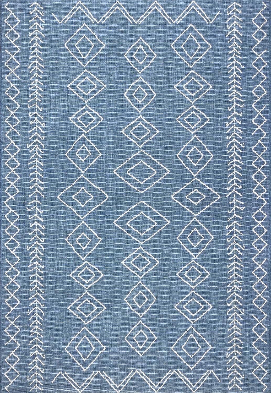 nuLOOM Sierra Moroccan Diamond Outdoor Area Rug 3 x 5 Blue