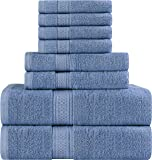 Utopia Towels Premium 8 Piece Towel Set (Electric Blue); 2 Bath Towels, 2 Hand Towels and 4 Washcloths - Cotton - Hotel Quality, Super Soft and Highly Absorbent