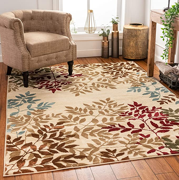 Amazon Com Well Woven Floral Leaves Modern Area Rug Multicolor 5x7 5 3 X 7 3 Home Kitchen