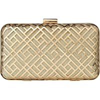 Paradox Womens Metal Case Wedding Party Evening Hand Box Clutch Bag (Black) (Gold)
