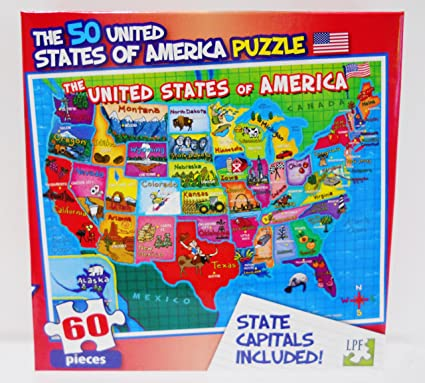 United State Of America Map.Lpf 60 Piece Puzzle United States Of America Usa Map With State Capitals