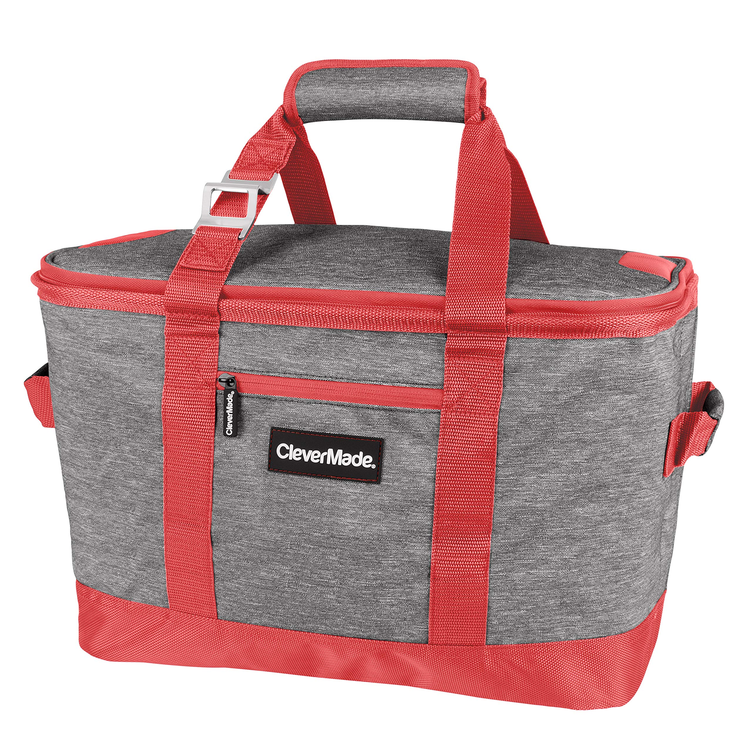 CleverMade Collapsible Cooler Bag: Insulated Leakproof 50 Can Soft Sided Portable Cooler Bag for Lunch, Grocery Shopping, Camping and Road Trips, Heather Grey/Coral by CleverMade