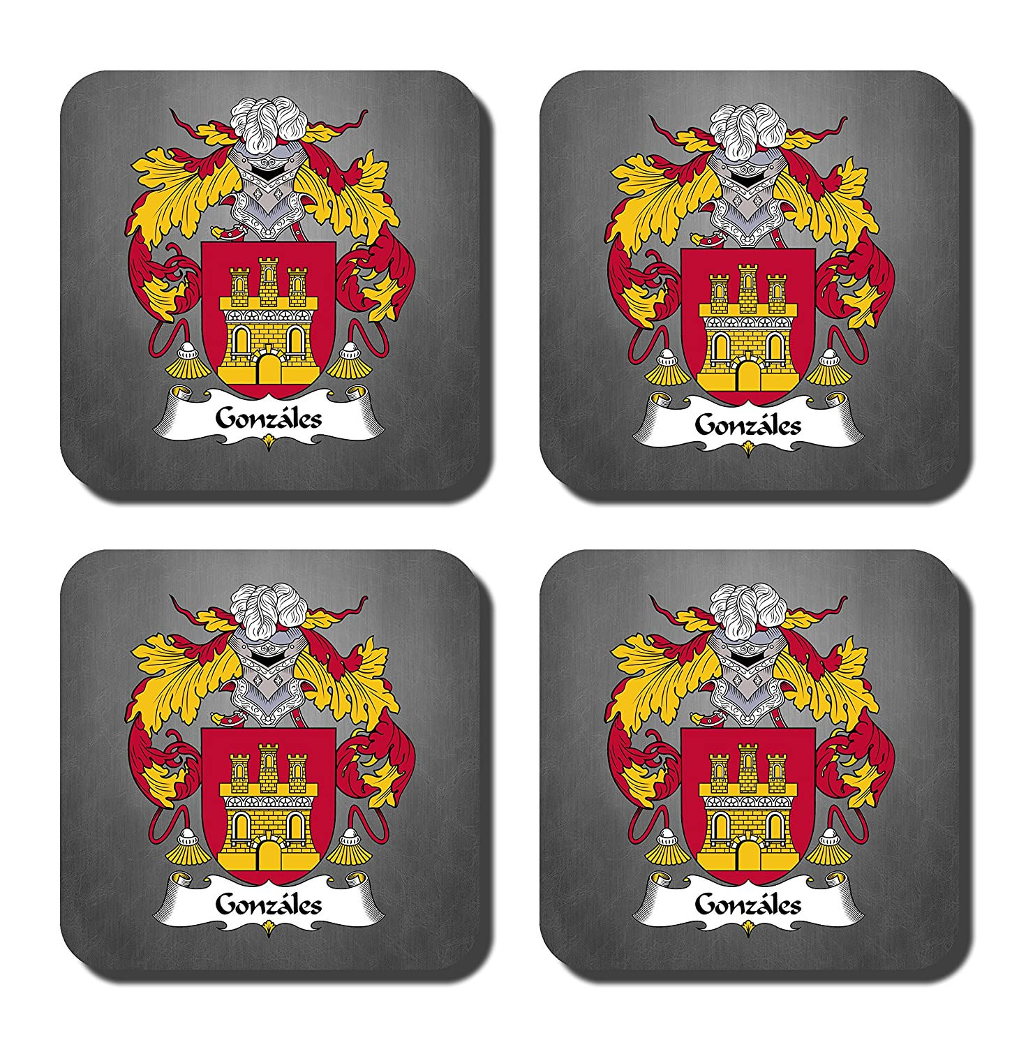 Gonzales Coat of Arms/家紋コースターセット、by Carpe Diem Designs – Made in the U。S。A。 Coaster-FC-Gonzales-Slate  Red Slate B078VG1ZDN