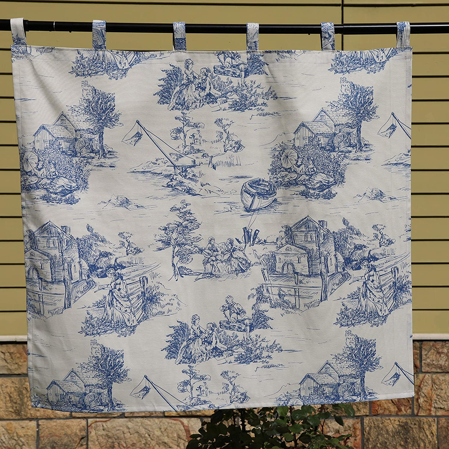 Toile de Jouy Valance Waverly Blue White Cotton Lined Rod Pocket Scalloped French Country Chic Extra Long 200 x 17 Custom Made Vintage