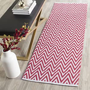 "Safavieh Montauk Collection MTK812K Handmade Flatweave Red and Ivory Cotton Runner (2'3"" x 7')"