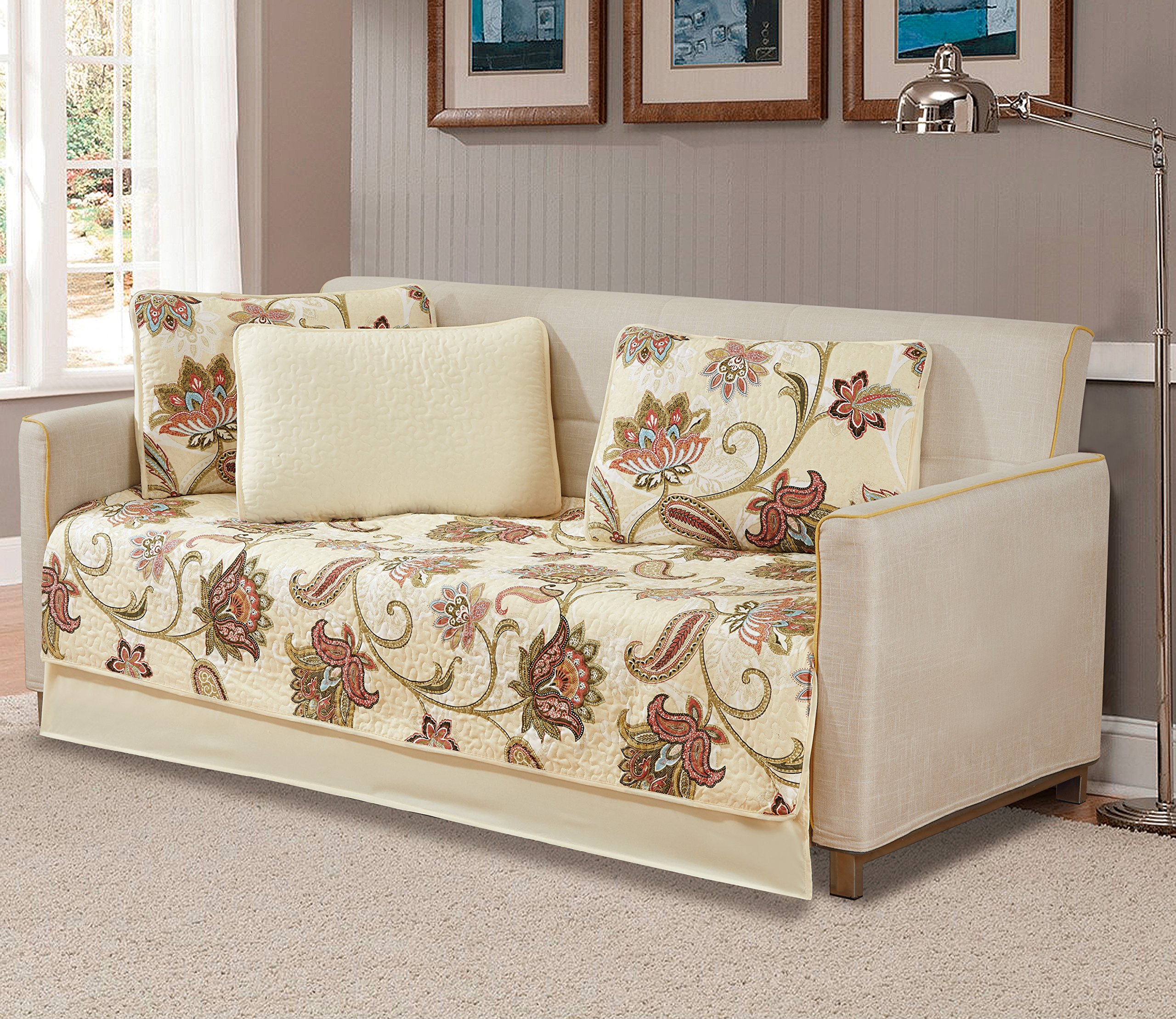 5pc Daybed Cover Set Quilted Bedspread Floral Beige Green Light Blue New